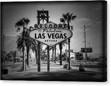 Welcome To Las Vegas Series Holga Black And White Canvas Print by Ricky Barnard