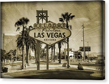 Street Lights Canvas Print - Welcome To Las Vegas Series Sepia Grunge by Ricky Barnard