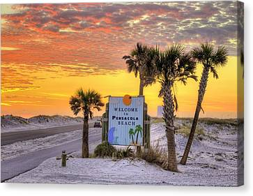 Welcome To Pensacola Beach And Its Gorgeous Sunsets Canvas Print by JC Findley