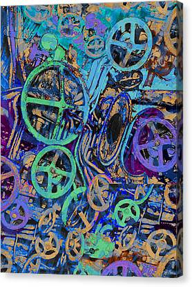 Red Green And Gold Abstracts Canvas Print - Welcome To The Machine Blue by Tony Rubino