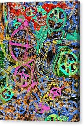 Red Green And Gold Abstracts Canvas Print - Welcome To The Machine Green by Tony Rubino