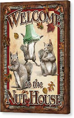 Welcome To The Nut House Canvas Print by JQ Licensing