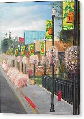 Canvas Print featuring the painting Welcome To Vernal by Sherril Porter