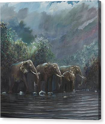 Elephants Canvas Print - Welcome Waters by Vincent Alexander Booth