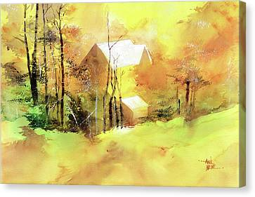 Canvas Print featuring the painting Welcome Winter by Anil Nene