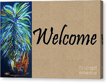 Pineapple Canvas Print - Welcome With Pineapple by Eloise Schneider
