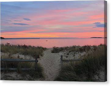 Wellfleet Harbor Sunset From Mayo Beach Canvas Print by John Burk