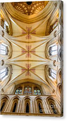 Canvas Print featuring the photograph Wells Cathedral Ceiling by Colin Rayner