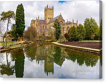 Canvas Print featuring the photograph Wells Cathedral by Colin Rayner