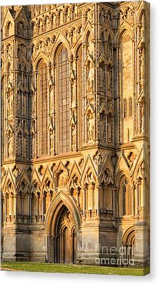 Canvas Print featuring the photograph Wells Cathedral Golden Glow by Tim Gainey