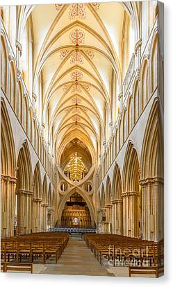 Canvas Print featuring the photograph Wells Cathedral Nave by Colin Rayner