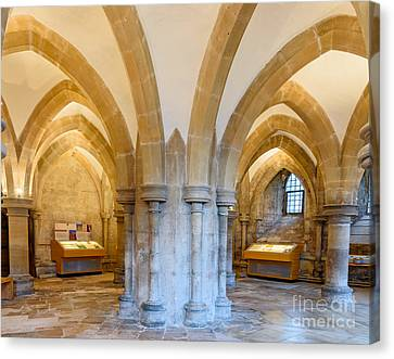 Canvas Print featuring the photograph Wells Cathedral Undercroft by Colin Rayner