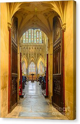 Canvas Print featuring the photograph Wellscathedral, The Quire by Colin Rayner