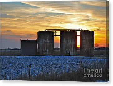Wellsite Sunset Canvas Print