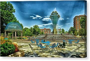 Wellspring Fountain - Council Bluffs Iowa Canvas Print by Mountain Dreams