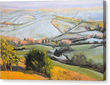 Canvas Print featuring the painting Welsh Landscape In Winter by Harry Robertson