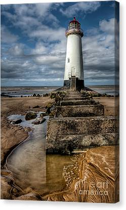 Hdr Landscape Canvas Print - Welsh Lighthouse  by Adrian Evans
