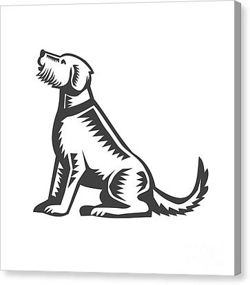 Welsh Terrier Sitting Woodcut  Canvas Print by Aloysius Patrimonio