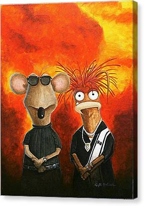 Canvas Print featuring the painting We're Bad Boys Okay by Al  Molina