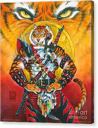 Werecat Warrior Canvas Print by Melissa A Benson