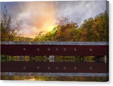 West Cornwall Covered Bridge Canvas Print by Susan Candelario
