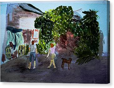 Canvas Print featuring the painting West End Shopping by Donna Walsh