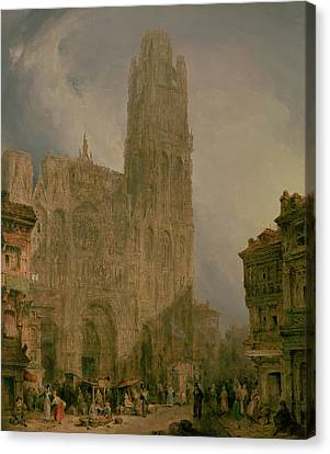 West Front Of Notre Dame Canvas Print by David Roberts