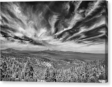 West Of Crater Lake B W Canvas Print by Frank Wilson
