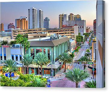 West Palm At Twilight Canvas Print by Debra and Dave Vanderlaan