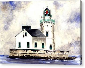 West Pierhead Lighthouse Canvas Print by Michael Vigliotti
