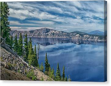 West Rim Of Crater Lake Canvas Print by Frank Wilson