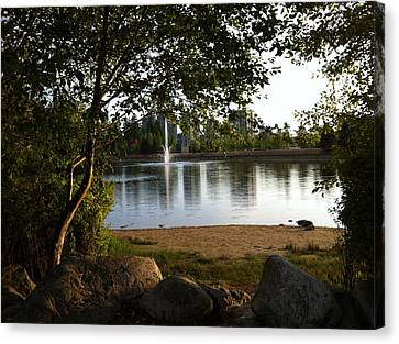 Canvas Print featuring the painting West View Of Lafarge Lake by Rod Jellison
