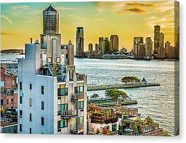 Canvas Print featuring the photograph West Village To Jersey City Sunset by Chris Lord