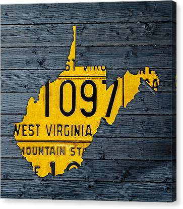 West Virginia State Recycled Vintage License Plate Map Art Canvas Print by Design Turnpike