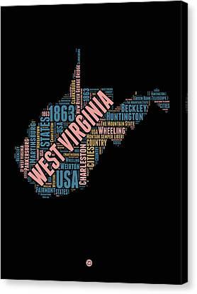 West Virginia Word Cloud Map 1 Canvas Print