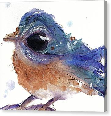Canvas Print featuring the painting Western Bluebird by Dawn Derman
