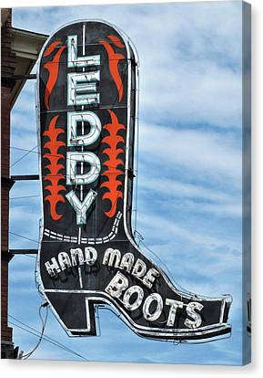 Canvas Print featuring the photograph Western Boot Sign by David and Carol Kelly