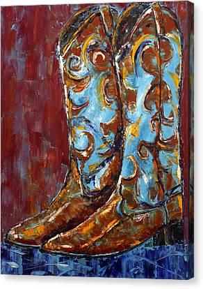 Western Boots Canvas Print by Jennifer Godshalk
