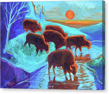 Western Buffalo Art Six Bison At Sunset Turquoise Painting Bertram Poole Canvas Print