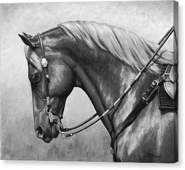 Horse Lover Canvas Print - Western Horse Black And White by Crista Forest