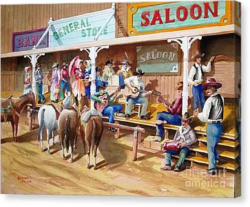 Western Jam Session Canvas Print by Charles Hetenyi