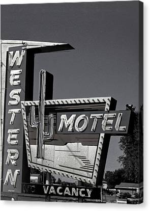 Canvas Print featuring the photograph Western Motel In Black And White by Matthew Bamberg