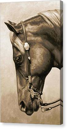 Western Pleasure Horse Phone Case In Sepia Canvas Print by Crista Forest