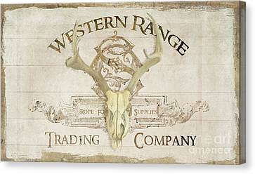 Western Range 3 Old West Deer Skull Wooden Sign Trading Company Canvas Print by Audrey Jeanne Roberts