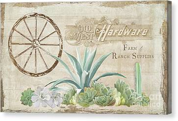 Western Range 4 Old West Desert Cactus Farm Ranch  Wooden Sign Hardware Canvas Print by Audrey Jeanne Roberts