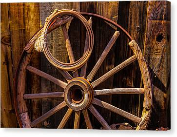 Wooden Wagons Canvas Print - Western Rope And Wooden Wheel by Garry Gay