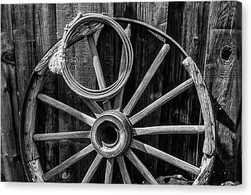 Wooden Wagons Canvas Print - Western Rope And Wooden Wheel In Black And White by Garry Gay