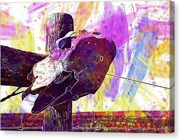Canvas Print featuring the digital art Western Skull Farm Trophy Skeleton  by PixBreak Art