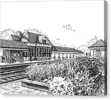 Western Springs Train Station Canvas Print by Mary Palmer