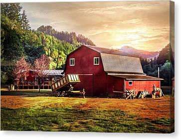 Western Sunset Canvas Print by Debra and Dave Vanderlaan